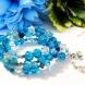 Blue Beaded Gemstone and Crystal Wrap a round Bracelet