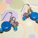 Beautiful 925 Sterling Silver Genuine Turquoise Gemstone Discs, Beads and Silver Heart Pierced Earrings