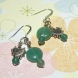 Beautiful 925 Sterling Silver Genuine Aventurine Gemstone Beads and Silver Heart Pierced Earrings