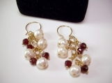 Freshwater Pearls and Garnet Earrings