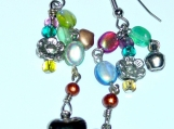 GLASS BEADED Chain Link Earrings With Charms And Jingling Bells