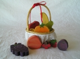 Wood Folk Art Fruit with Basket