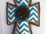 Teal Blue Chevron and Natural, Brown Burlap Cross Door Hanger