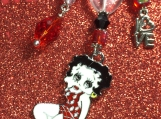 Beautiful Love Betty Boop Crystal Heart Purse Charm !! L@@K !!