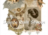 Victorian Profile Collage Applique Fabric Quilt Block 14-0098