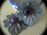 Earrings-Rose Gold-plated, Leaf w/ Faceted Vintage Amethyst Cab.