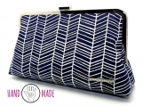 Olea 10 Clutch: Herringbone Navy-White