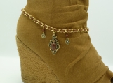 DC125 Gold and Brown Boot Chain with Rhinestone Accents