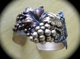 Bracelet-cuff style with VIntage, Mixed Metal Grape Clusters
