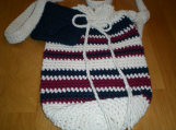 Cotton Bag, Hand-crocheted  in Cream, , Burgundy, Navy