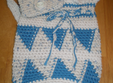 Cotton Bag Hand-crocheted   in Teal and Bone