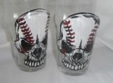 Hand painted baseball themed skull/skeleton lager glass s/2