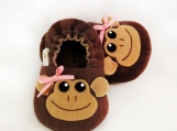 Monkey Girl Baby Booties, 0 - 18 Months