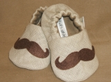 Mustache Baby Booties, 0 - 18 months