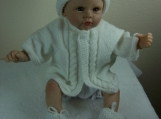 Knit Baby Sweater Matching Cap & Booties - White