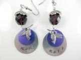 Custom-Hand stamped - nana- hummingbird earrings