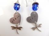 Custom-Hand stamped - dream- earrings