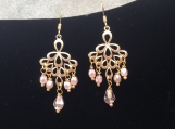 Pink bead chandeliere earrings