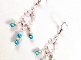 Japanese miracle bead silver plated chandelier earrings
