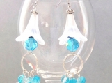 Lily earrings with turquoise crystal and dangle charm