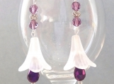 White lily earrings with purple irridescent crystals