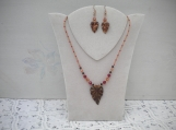 Burgundy leaves necklace and earrings set