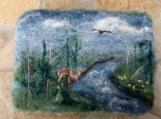 "Felted Soap Landscape ""Wilderness Stream"", Rose Scented"