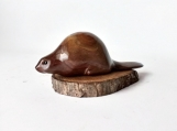 Beaver wood carving hand carved Canadian emblem