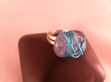 Blue Crackle Quartz Blue Wire Wrapped Adjustable Ring