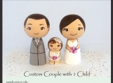 Custom Wedding Cake Toppers with One Child