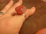 Genuine Apricot Agate Silver Double Banded Adjustable Ring