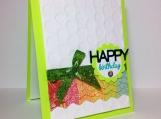 Lime green birthday card with rainbow mini banner