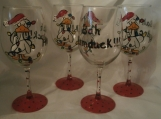 Hand painted bah humduck chistmas lights and duck goblets s/4