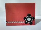 Black & White w/String Felt Flower Note Card Keepsake