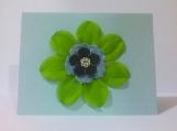 Large Green Flower w/Denim Note Card Keepsake
