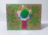 Multi-Color Felt Flower w/Green Button Note Card Keepsake