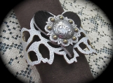 Bracelet - Leather with Silver plated Concho& Cowhair Medallion