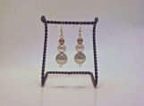 Gold, Ivory and Silver Gray Pearl Earrings