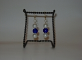 Ivory Pearl & Royal Blue Glass Beads Earrings