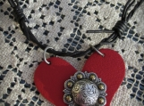 Necklace, Black-Barbed wire leather with Red Heart pendant