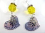 Hand stamped my sunshine earrings