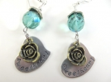 Hand stamped sweetheart rose earrings