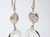 950 Sterling Silver Pearl Button Earrings Dangle