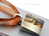 Perfect Moment... Trees Silhouette on Sunset - ECO Glass Photo Pendant Necklace