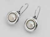 Special Pearl 925 Silver Earrings With White Stone Shablool Didae Israel
