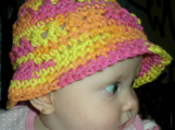 Baby Hat,  Pink Orange Yellow, Crossed Bucket Style