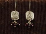 Fine Silver Primitive Motif Earrings with Garnets