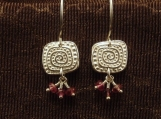 Fine Silver Primitive Motif Earrings with Pink Tourmaline