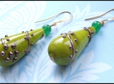 you are special. opaque green glass earrings.