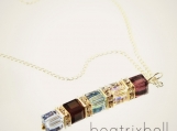 custom birthstone necklace with five stones, Swarovski crystal